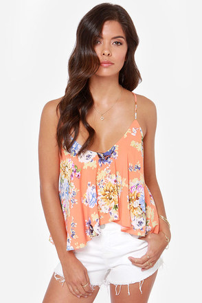 Fashion Flow-ard Bright Peach Floral Print Tank Top