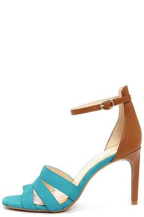 Jessica Simpson Maselli Cool Aqua and Tan Ankle Strap Heels
