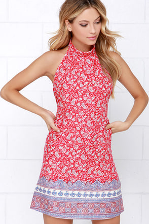 Moroccan the Boat Red Print Halter Dress at Lulus.com!
