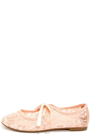 Restricted Sara Blush Lace Flats