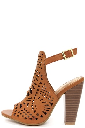 Bamboo Mash 03 Tan Laser Cut High Heel Booties at Lulus.com!