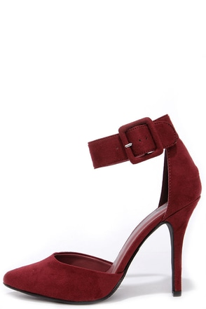 My Delicious Aveta Burgundy Suede Ankle Strap Heels at Lulus.com!