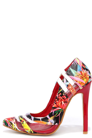 Hybrid Species Floral Print Pumps at Lulus.com!