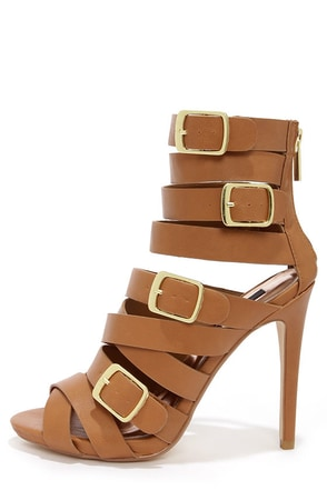 Dollhouse Arena Tan Buckled Caged Heels