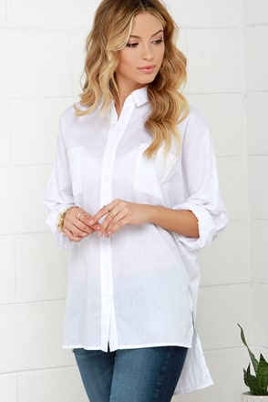 Glamorous Casually Cute Ivory Button-Up Top at Lulus.com!