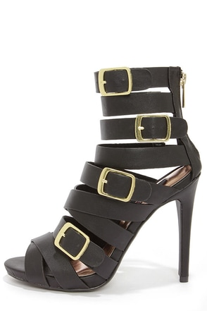 Dollhouse Arena Black Buckled Caged Heels