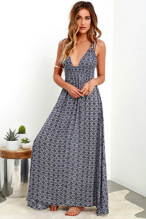 Field Day Navy Blue Print Maxi Dress at Lulus.com!