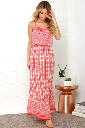 Lay of the Land Coral Red Print Maxi Dress at Lulus.com!