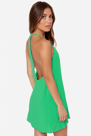 Don't Slow Down Green Crochet Dress