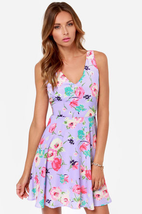 Grand Poppy Lavender Floral Print Dress