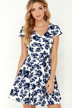 Art of Romancing Ivory and Navy Blue Floral Print Skater Dress at Lulus.com!