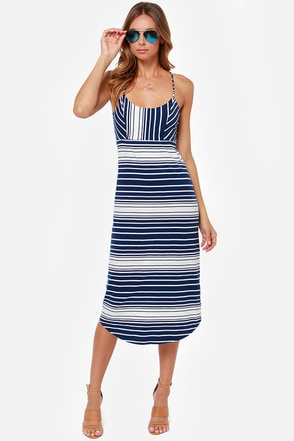 Roxy In My Dreams Navy Blue Striped Midi Dress