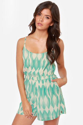 Roxy Tainted Love Cream and Turquoise Print Romper