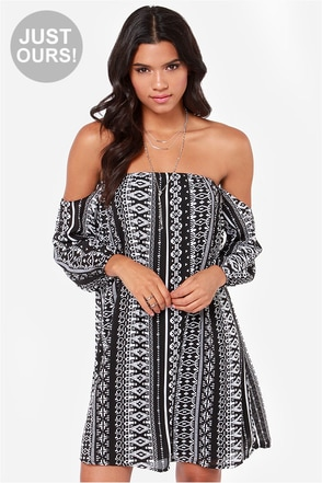 LULUS Exclusive Geo Grande Black Print Dress