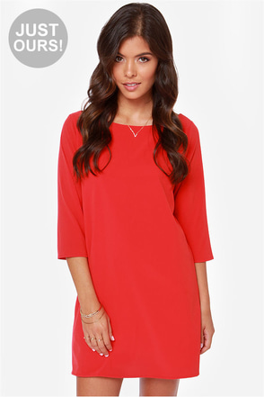 LULUS Exclusive Open Heart Red Shift Dress at Lulus.com!