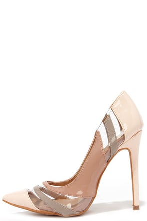 See and Be Seen Nude and Lucite Pumps at Lulus.com!