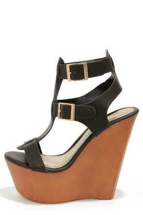 Yoki Wisdom 10 Black Buckled Wedge Sandals
