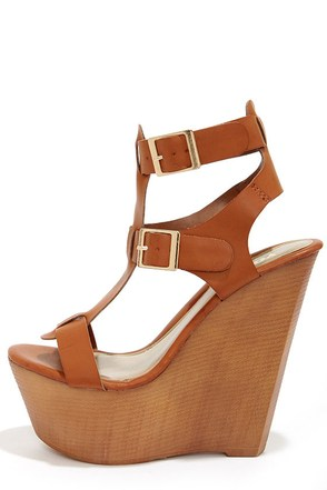 Yoki Wisdom 10 Rust Buckled Wedge Sandals