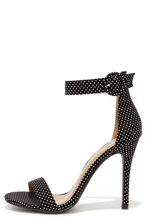 Betty Believe It Black Polka Dot High Heel Sandals at Lulus.com!