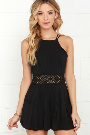 Parkside Promenade Black Crochet Romper at Lulus.com!
