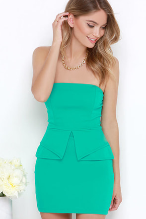 Step by Pep Sea Green Peplum Dress at Lulus.com!