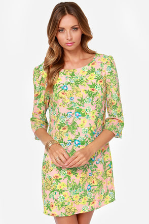 Crash Corsage Pink Floral Print Shift Dress