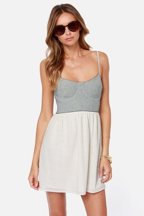 Roxy Now or Never Striped Lace Bustier Dress