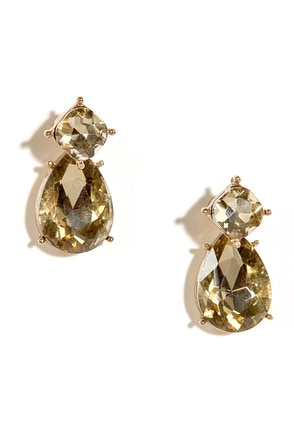 Forever Yours Champagne Rhinestone Peekaboo Earrings at Lulus.com!