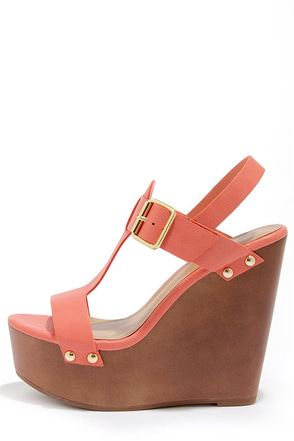Emily 32 Soft Peach Platform Wedge Sandals
