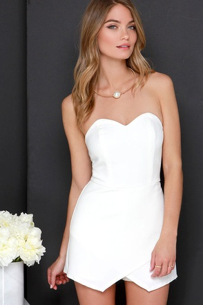 Glamorous Keep Me Posted Ivory Strapless Romper at Lulus.com!