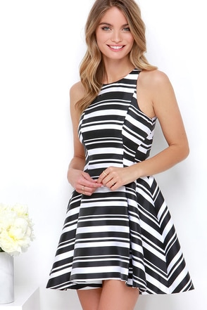 Cameo Brightside Black and White Striped Dress at Lulus.com!