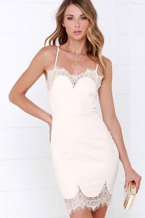 Linger On Pale Blush Lace Dress at Lulus.com!