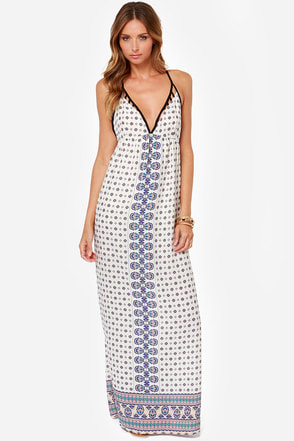 Piece of the Action Ivory Print Maxi Dress