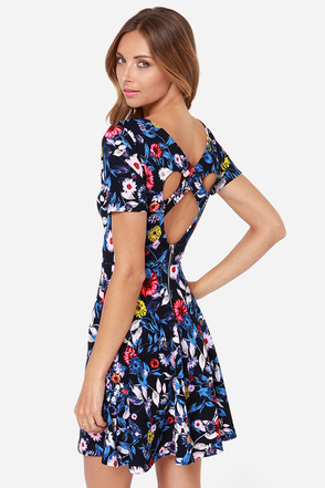 Floral Affair Navy Floral Print Dress