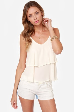 Tier Up the Town Ivory Tank Top