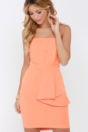 I Slant Even Orange Strapless Dress at Lulus.com!