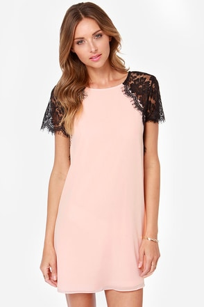 TFNC Lava Black and Peach Lace Dress