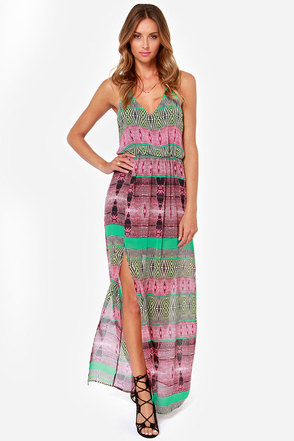 Say No Amore Green and Pink Print Maxi Dress