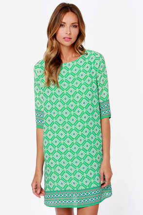 Prints Charming Green Print Shift Dress at Lulus.com!