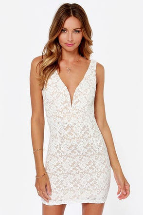 Fashion Lace Off Ivory Lace Dress