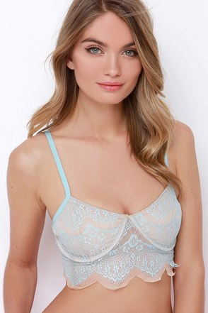 Glamorous Call it a Night Light Blue Lace Bralette at Lulus.com!