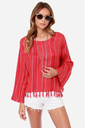 Billabong The Heart Seas Striped Red Top
