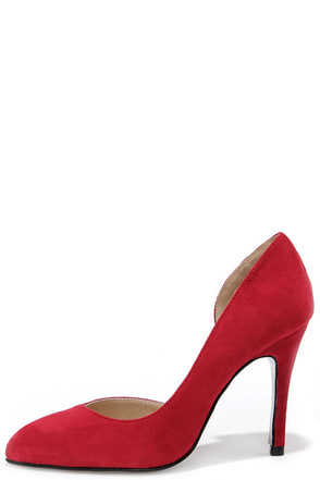 Chinese Laundry Copertina Rebel Red Kid Suede D'Orsay Heels at Lulus.com!