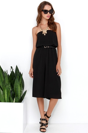 Full Tilt Black Strapless Midi Jumpsuit at Lulus.com!