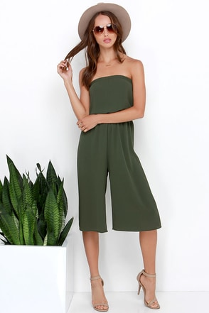 Full Tilt Olive Green Strapless Midi Jumpsuit at Lulus.com!