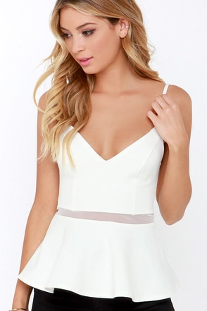 Keen Interest Ivory Mesh Peplum Top at Lulus.com!