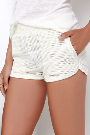 Chill Time Ivory Mesh Short at Lulus.com!