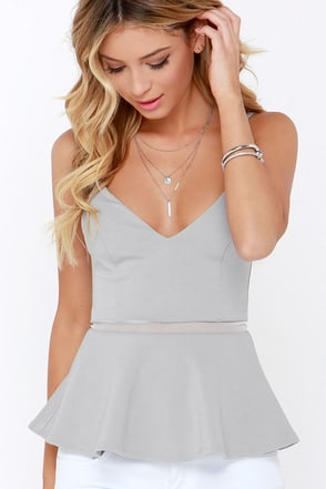 Keen Interest Grey Mesh Peplum Top at Lulus.com!