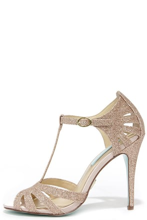 Blue by Betsey Johnson Tee Champagne Glitter Dress Sandals at Lulus.com!