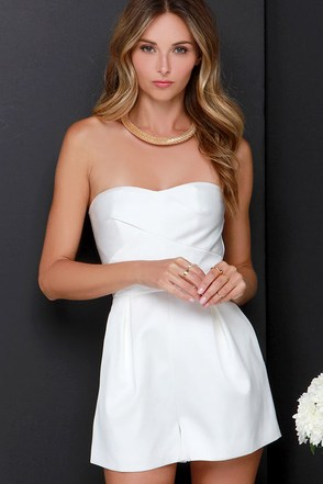 Keepsake True Awakening Ivory Strapless Romper at Lulus.com!